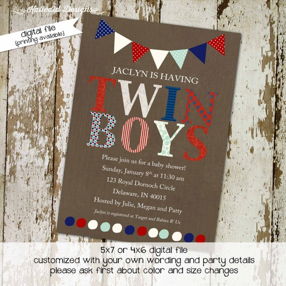 Twins baby shower invitation couples coed gender reveal red white blue army military patriotic boy diaper wipes double | 152 Katiedid Design