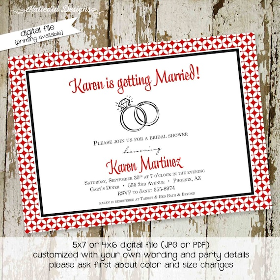 Couples Shower Invitation happily ever after bridal Rehearsal Dinner save the date postcard wedding rings brunch party | 317 Katiedid Design