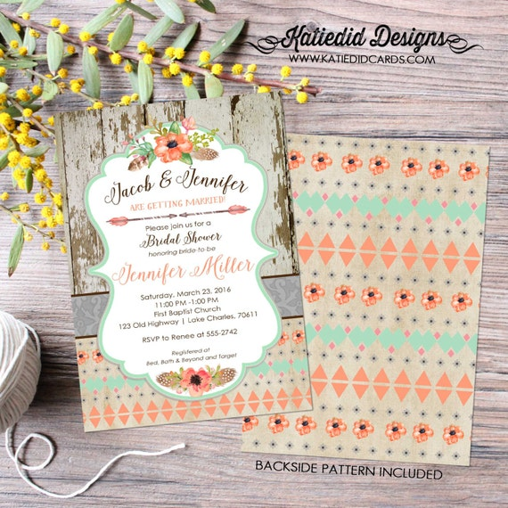 Couples shower Invitation mint coral boho tribal bridal Rehearsal Dinner I do BBQ engagement party after coed rustic | 1445 Katiedid Designs