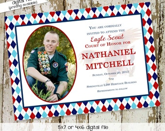 High School Graduation Announcement, Eagle Scout Court of Honor Invitation, Patriotic Red White Blue, LDS Mormon   604 Katiedid Designs