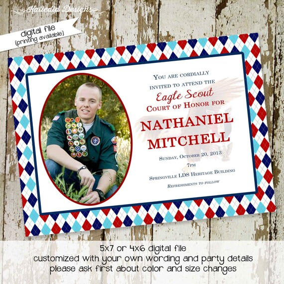 Eagle scout court of honor graduation invitation patriotic LDS announcement high school Boy teenager birthday Mormon | 604 Katiedid Designs