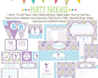 once upon a time purple aqua paisley polka dot shower with love baby shower party package gender reveal party game 1371 Katiedid Designs