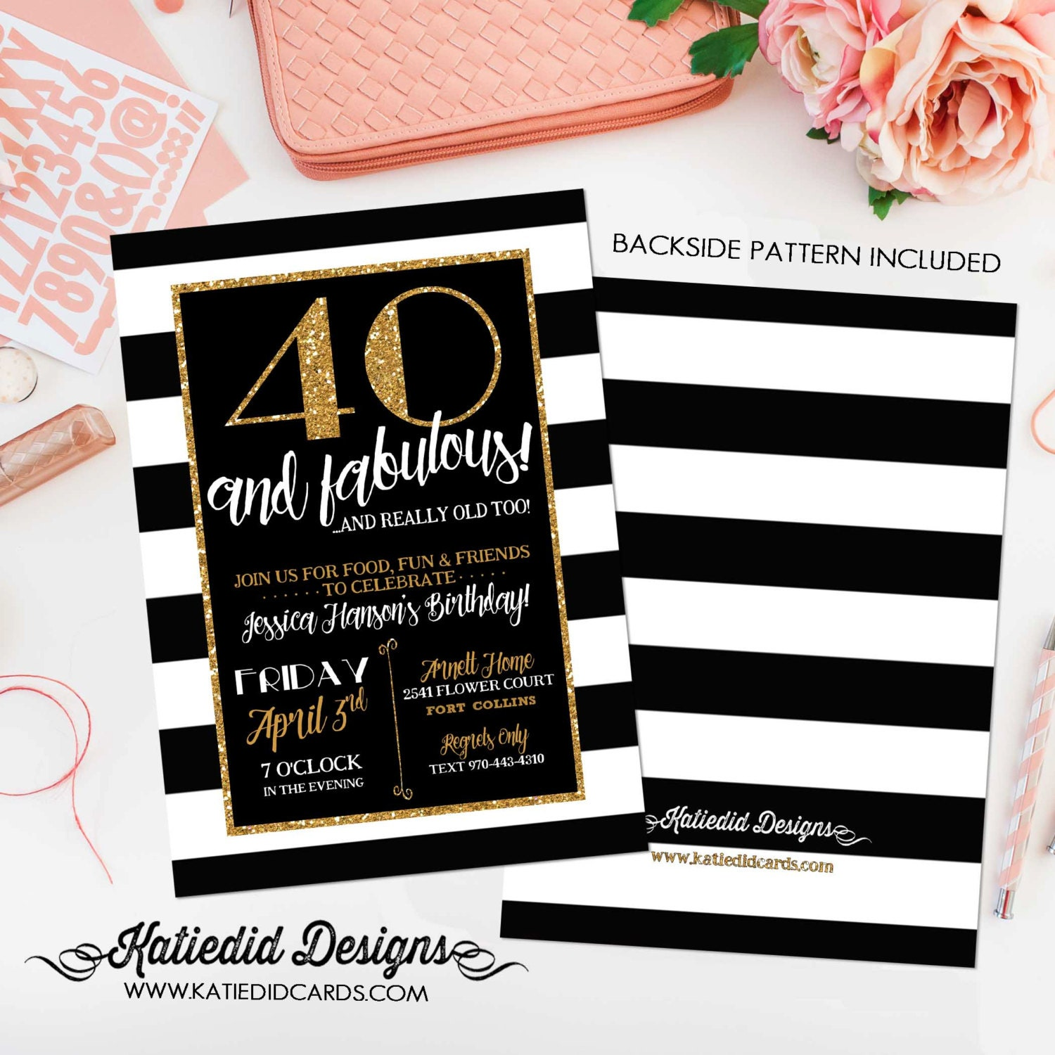 40th birthday invitation for women rehearsal dinner adults only gold ...
