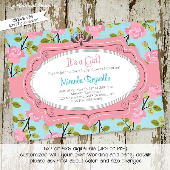 couples baby shower invitation floral girl sprinkle sip see brunch christening baptism first communion birthday twins | 1350 katiedid Cards