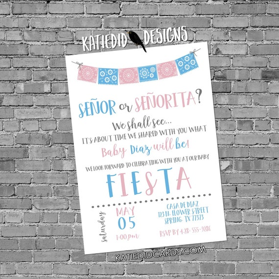 Fiesta gender reveal invitation baby shower cinco de mayo senor senorita Papel Picado couples coed twins mexican pink blue | 1487 katiedid