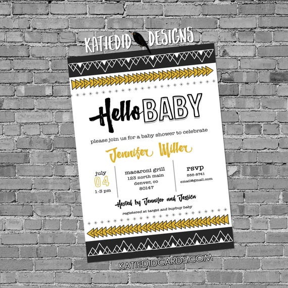gender reveal invitation Tribal baby shower arrows aztec black yellow gray hello boho sip see sprinkle books brunch | 1482 Katiedid Designs