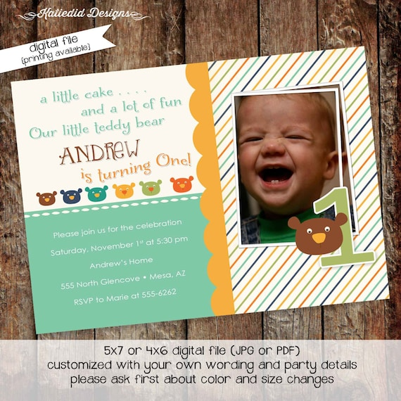 teddy bear birthday invitation couples baby shower pregnancy announcement ultrasound photo picture boy gender reveal | 246 Katiedid Designs