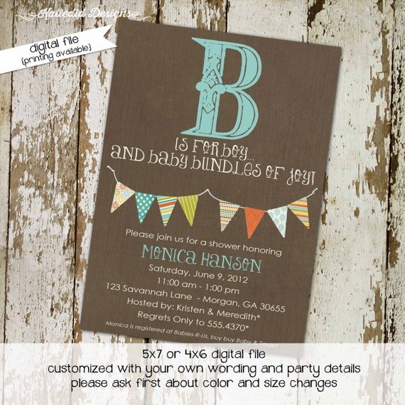 baby shower invitation gender neutral couples rustic b is for boy reveal diaper wipes brunch coed sprinkle sip see | 122 Katiedid designs