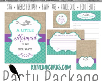 purple teal mermaid invitation under the sea baby shower rustic chic burlap baby shower party package welcome sign 1365 katiedid designs