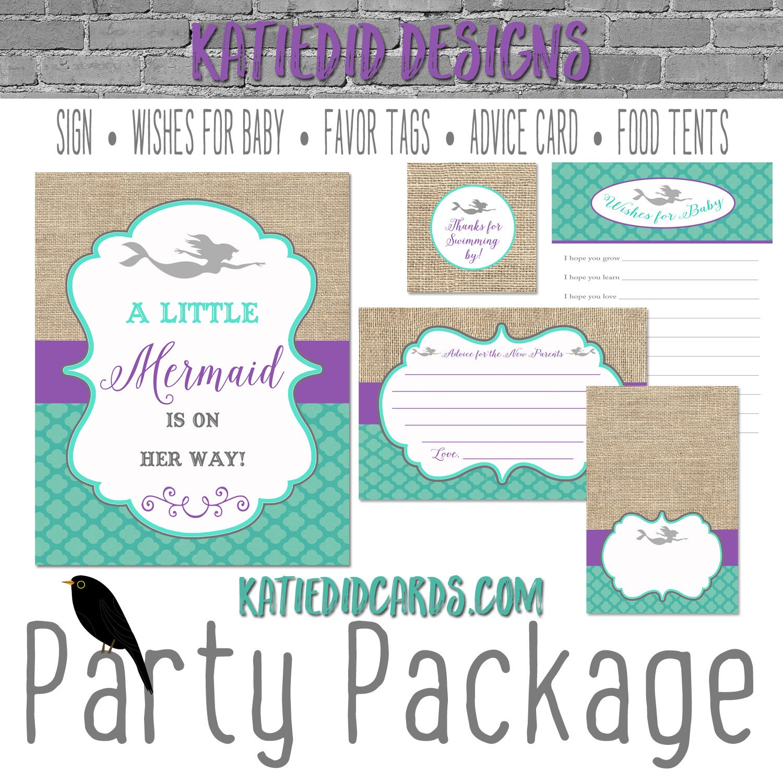 purple teal mermaid invitation under the sea baby shower rustic chic ...