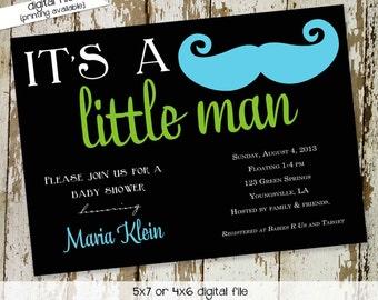 Mustache baby boy shower invitation Little man Gentleman oh couples coed sprinkle sip see diaper wipes bash brunch   1274 Katiedid Designs