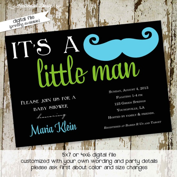 Mustache baby boy shower invitation Little man Gentleman oh couples coed sprinkle sip see diaper wipes bash brunch | 1274 Katiedid Designs