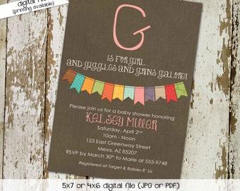 gender reveal invitation couples baby shower neutral bunting banner coed sprinkle sip see diaper wipes books brunch | 1323 Katiedid Designs