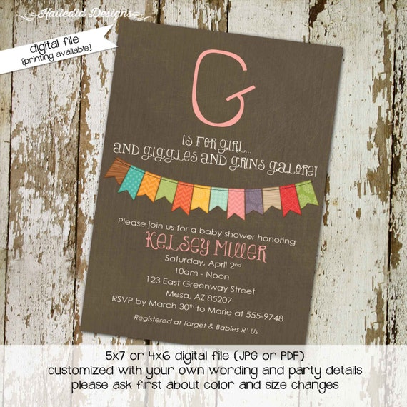 gender reveal invitation couples baby shower neutral bunting banner coed sprinkle sip see diaper wipes books brunch | 1323 Katiedid Designs