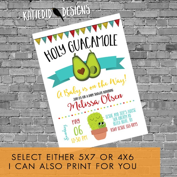 Fiesta invitation Holy Guacamole twin couple Baby Shower birthday cactus stock the bar rehearsal dinner engagement party | 13131 Katiedid