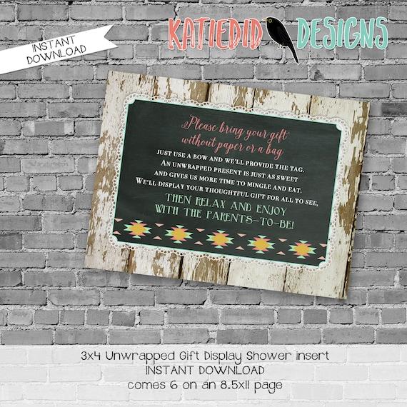 display shower insert | unwrapped gift enclosure card | rustic shower invitations gender neutral | he or she gender | 1439 katiedid designs