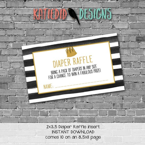 where the wild things are black white stripes diaper wipe brunch coed baby shower Diaper raffle ticket insert enclosure card | 292 Katiedid