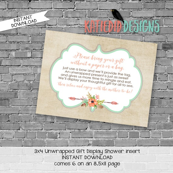 display shower insert   unwrapped gift enclosure card   rustic shower invitations gender neutral   mint coral invite   1445 Katiedid Designs