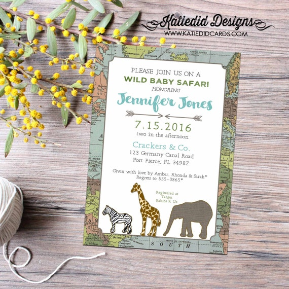 Adventure awaits travel theme couples baby shower invitation world map safari elephant giraffe zebra tribal boy twins | 12115 Katiedid cards