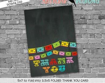 Papel Picado invitation Fiesta Bridal Shower cinco de mayo co-ed party day of the dead chalkboard thank you card 301 234 Katiedid Designs