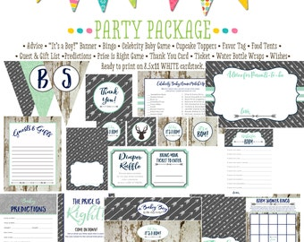 boy oh boy boho Tribal baby shower party package wood mint navy rustic chic wishes bunting banner thank you card  12120 Katiedid Designs