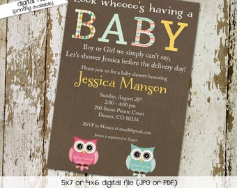 Gender reveal invitation owl baby shower diaper wipes couples brunch coed pink blue boy girl twins sip see neutral | 1415 Katiedid Designs