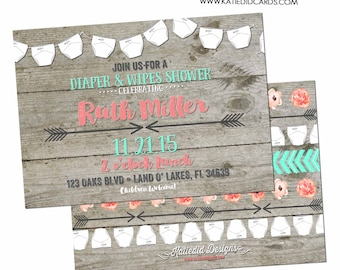 Gender reveal invitation BOHO baby shower mint coral Tribal diaper wipes wood couples brunch neutral twins rustic coed   1417 Katiedid Cards