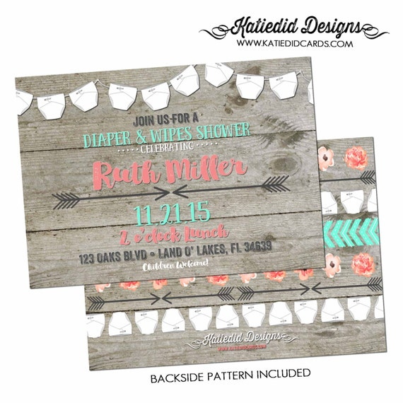 Gender reveal invitation BOHO baby shower mint coral Tribal diaper wipes wood couples brunch neutral twins rustic coed | 1417 Katiedid Cards