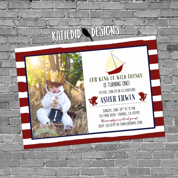 wild one two where things are birthday invitation rumpus picture photo baby shower stripes red white blue patriotic | 292 Katiedid Designs