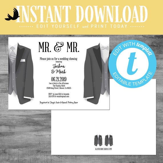 Rehearsal dinner invitation with tuxedos gay wedding shower bow tie neck tie Mr. and Mr. editable | 342 Katiedid Designs