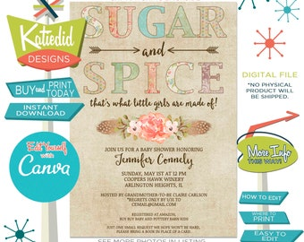 Sugar and Spice Baby Girl Shower Invitation, BOHO Tribal Coral Couples Sprinkle or edit for ANY Event   1311 Katiedid