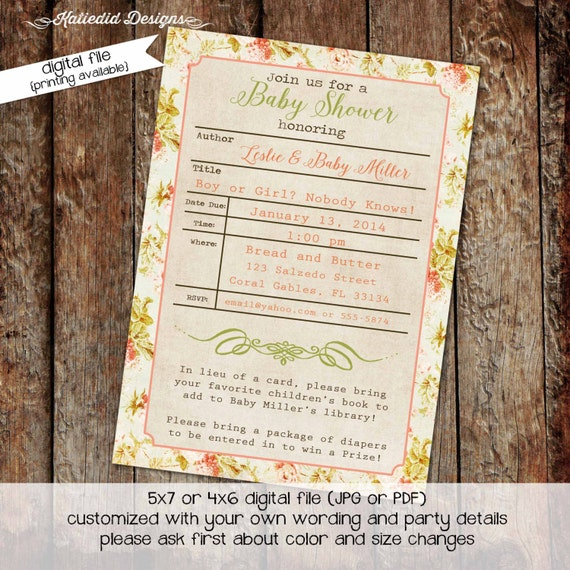 library card once upon a time storybook couples baby shower invitation floral gender reveal neutral brunch book LGBT | 1450 Katiedid designs