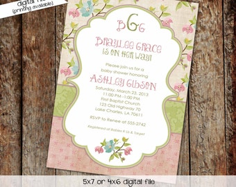 Couples baby shower invitation girl twins floral rustic coed Monograms mimosas diaper wipes brunch sprinkle sip see | 1314 Katiedid Designs