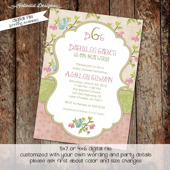 Couples baby shower invitation girl twins floral rustic coed Monograms mimosas diaper wipes brunch sprinkle sip see | 1314 Katiedid Designs