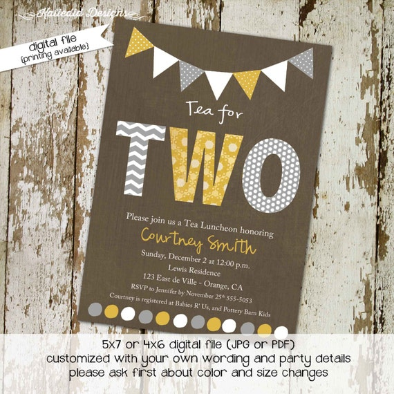 Twins baby shower invitation gender reveal couples coed sprinkle diaper wipes bunting banner rustic neutral yellow gray | 1511 katiedid card