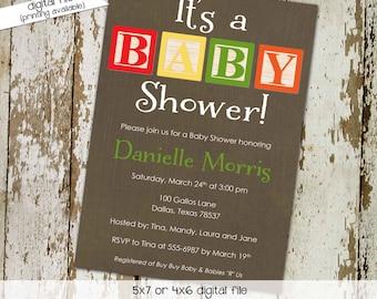 baby blocks couples shower invitation gender reveal neutral twins boy coed sprinkle sip see diaper wipes brunch rustic | 1253 Katiedid cards