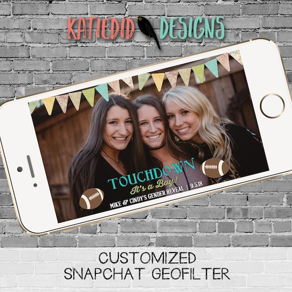 snapchat filter gender reveal touchdowns or tutus baby shower neutral twins football country rustic bunting banner geofilter | 1431 Katiedid