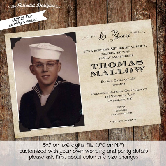 memorial announcement funeral card grandparent postcard 60th 70th 80th 75th retirement party obituary photo picture | 275 Katiedid Designs