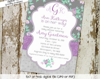 couples baby shower invitation purple mint gray floral baptism coed twins monograms mimosas books brunch sprinkle sip see | 1376 Katiedid