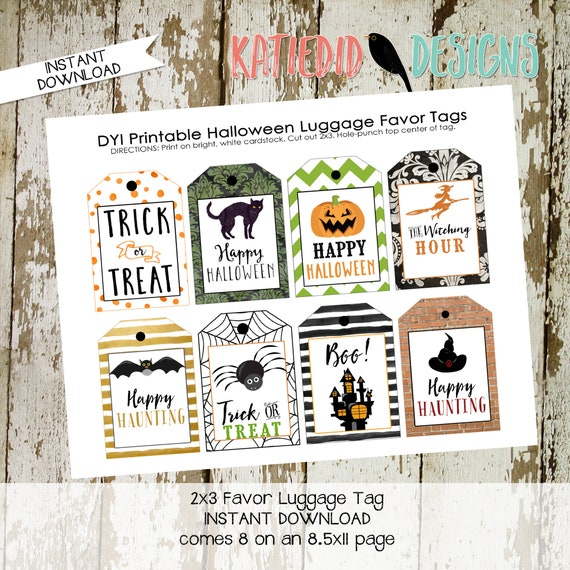 Halloween printable favor tags luggage witch black cat spider web jack-o-latern pumpkin trick or treat happy haunted house gift | katiedid