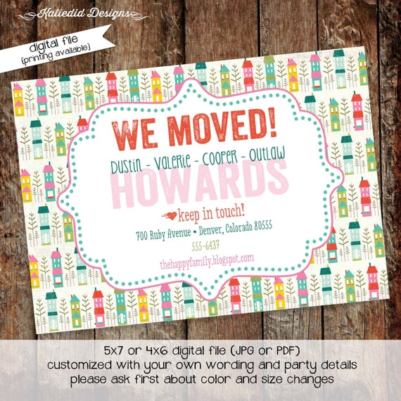 moving announcement housewarming party retirement couples shower invitation stock the bar change of address keep in touch | 703 Katiedid