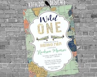 Wild one birthday invitation Adventure awaits baby shower World map Vintage Airplane Travel Theme gender neutral reveal boy   2014 Katiedid