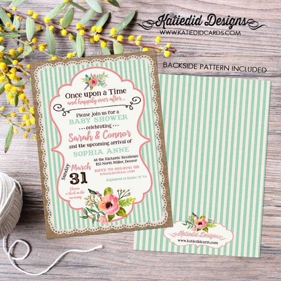 Once upon a time baby shower invitation storybook boho chic burlap lace mint coral couples coed sprinkle sip see birthday | 1346 Katiedid