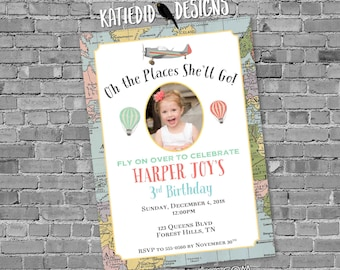 adventure awaits hot air balloon travel theme birthday invitation baby shower picture oh the places you'll go miss to mrs   20012 Katiedid
