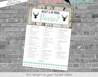 gender reveal party game Woodland Deer baby boy shower What's in your purse rustic Tribal boho mint navy gray | 1238b Katiedid cards