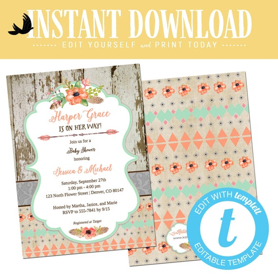 BOHO chic baby girl shower invitation mint green coral floral tribal rustic twin couple coed sprinkle sip see brunch diaper | 1445 Katiedid