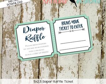 Diaper raffle ticket couples baby shower boho Tribal baby shower invitation diaper wipe brunch insert mint navy 1238 12120 12121 Katiedid