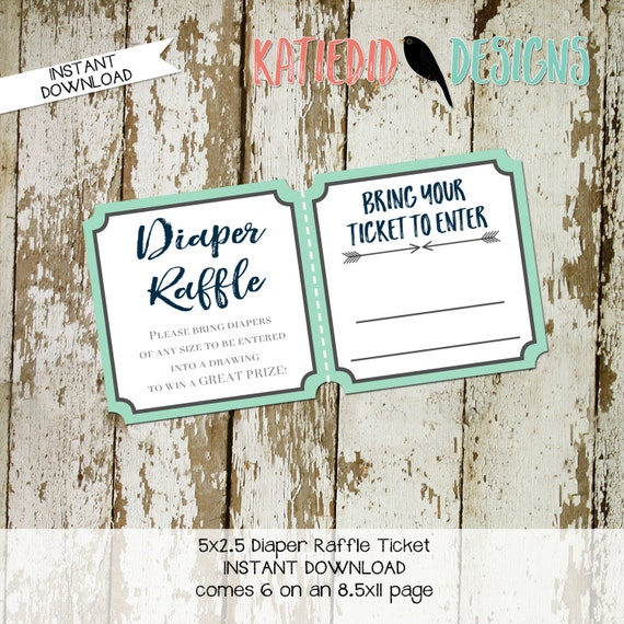 Diaper raffle ticket couples baby shower boho Tribal baby shower invitation diaper wipe brunch insert mint navy 1238 12120 12121 Katiedid