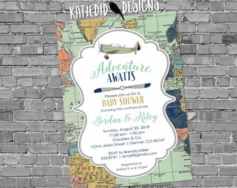 Travel theme vintage airplane gay baby shower invitation two moms couples coed world map adventure mint navy gray gold   12124 Katiedid Card
