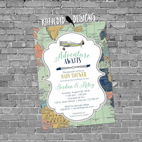 Travel theme vintage airplane gay baby shower invitation two moms couples coed world map adventure mint navy gray gold | 12124 Katiedid Card